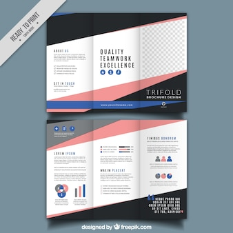 Trifold brochure with pink and blue details