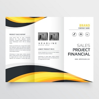Trifold brochure with yellow and black waves