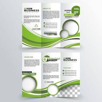 Trifold business of green waves