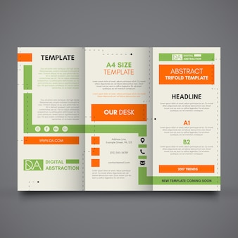 Trifold template with green and orange shapes