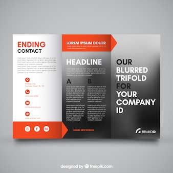 Trifold with color details and blurred effect
