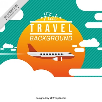 Trip background in flat design with a airplane