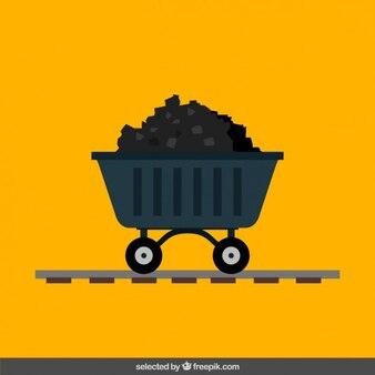 Trolley of coal mine in flat design