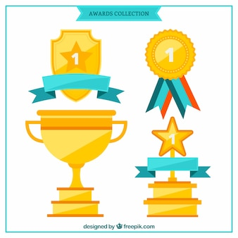 Trophies and medals in flat design