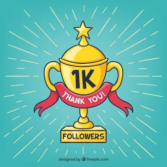 Trophy background of 1k followers