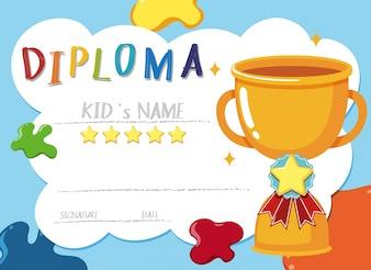 Trophy reward kid's diploma