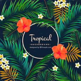 Tropical background of palm trees and flowers