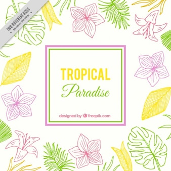 Tropical background with hand drawn flowers