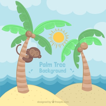 Tropical background with palm trees and a cute monkey