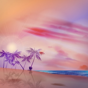 Tropical background with violet color palms