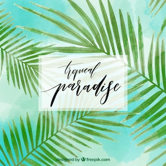 Tropical background with watercolor palm leaves