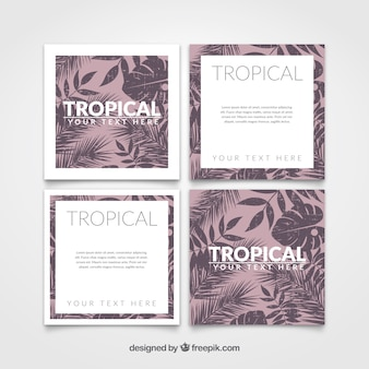 Tropical cards in vintage style