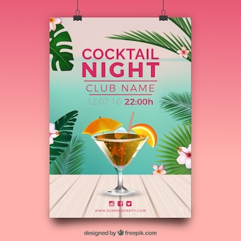 Tropical cocktail party poster