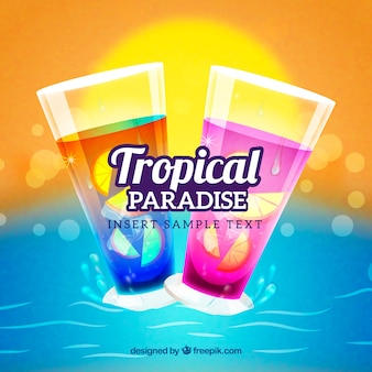 Tropical drinks background