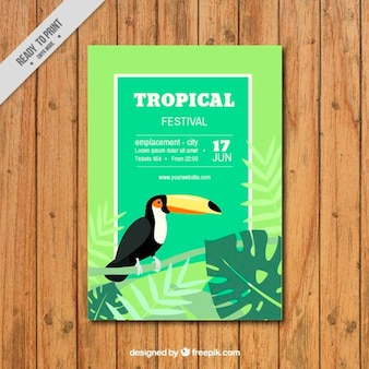 Tropical festival flyer with a toucan