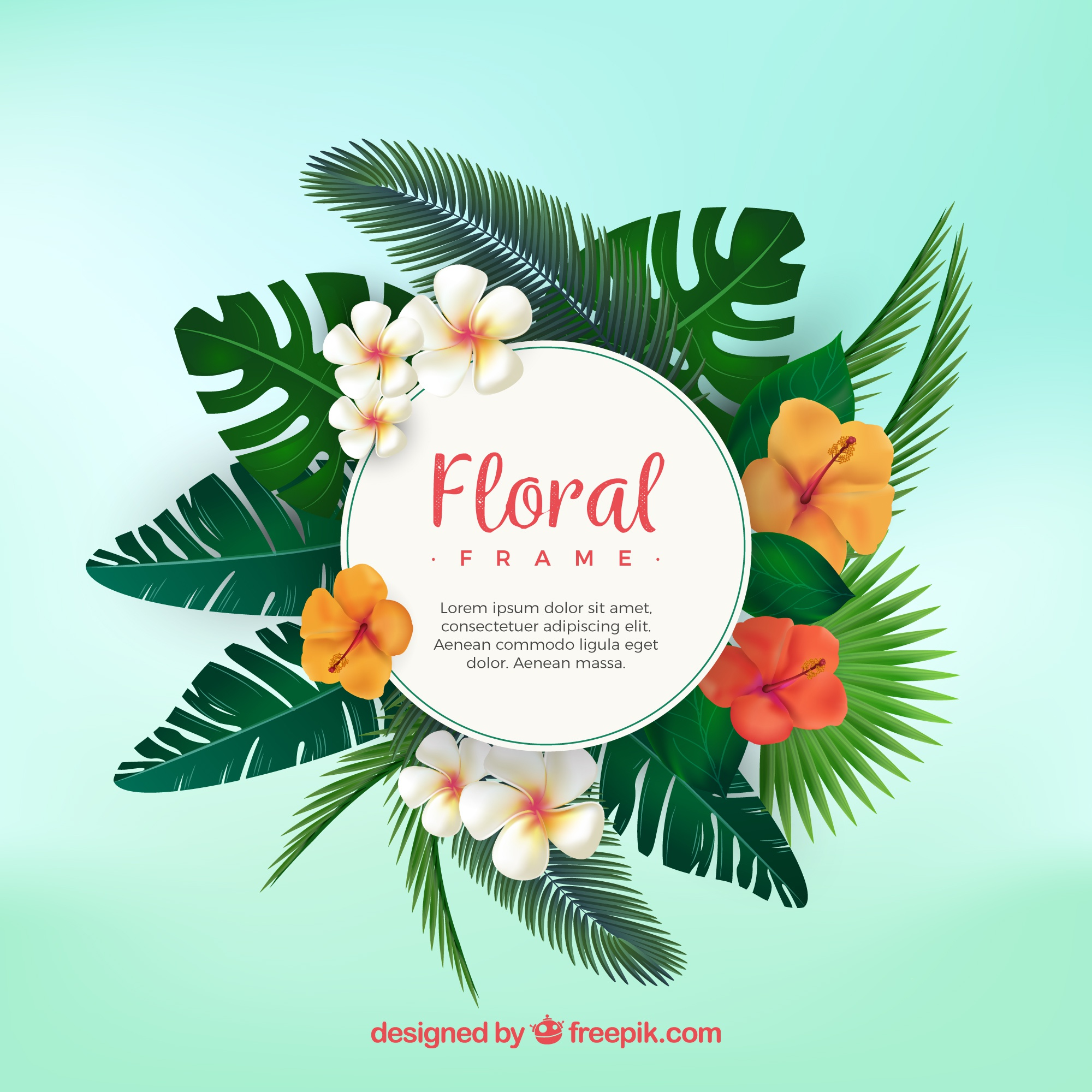 Tropical floral frame with flat design