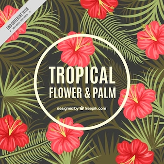 Tropical flowers and palm leaves background