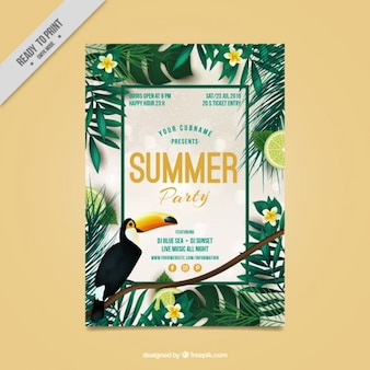 Tropical flyer of summer party
