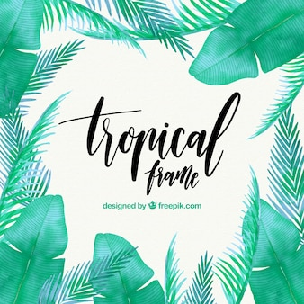 Tropical frame with leaves of watercolor palms