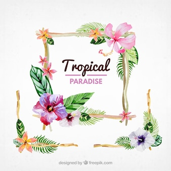 Tropical frame with watercolor flowers