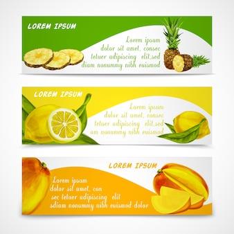 Tropical fruits banner set