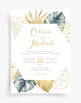 Tropical gold wedding card template