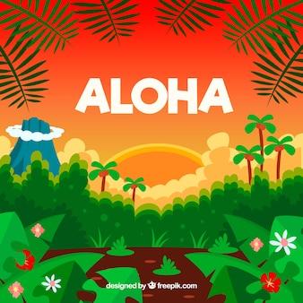 Tropical landscape aloha background