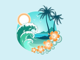 Tropical landscape holidays vector