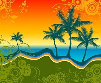 Tropical landscape pattern with palm silhouettes