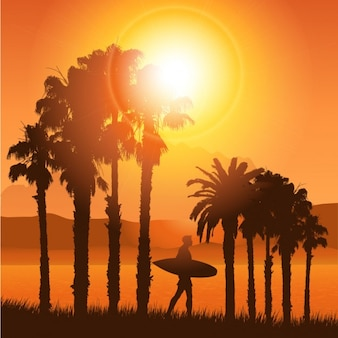 Tropical Landscape Silhouette with surfer