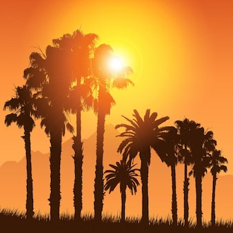 Tropical landscape with silhouettes of palm trees against a sunset sky