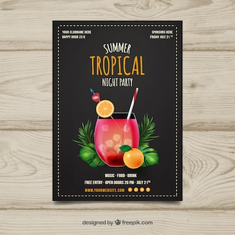Tropical party brochure with cocktail