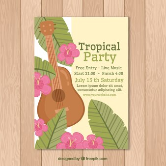 Tropical party brochure with guitar and flowers