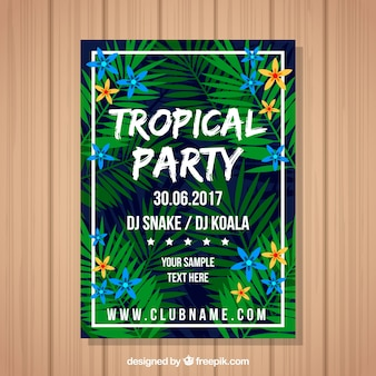 Tropical party card with palm leaves