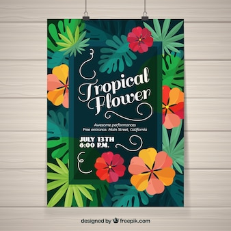 Tropical party poster with flowers in flat design