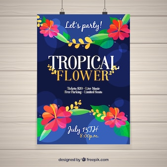 Tropical party poster with flowers