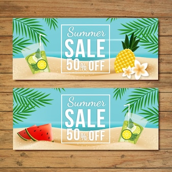 Tropical sales banners set