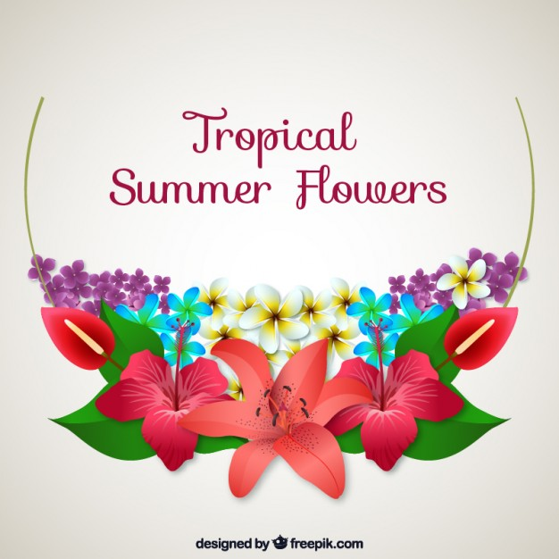 Tropical summer flowers background