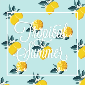 Tropical summer lemon pattern