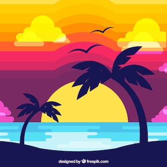 Tropical sunset flat design