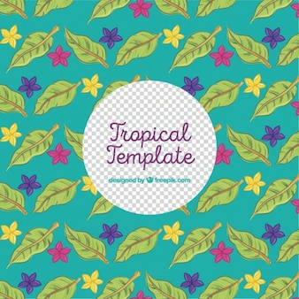 Tropical template with hand drawn leaves and flowers