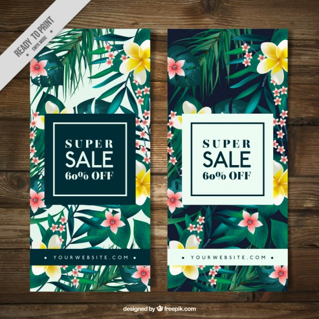 Tropical vegetation sale banners