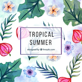 Tropical watercolor background with flowers and leaves
