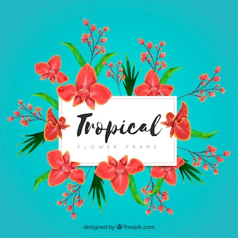 Tropical watercolor floral frame