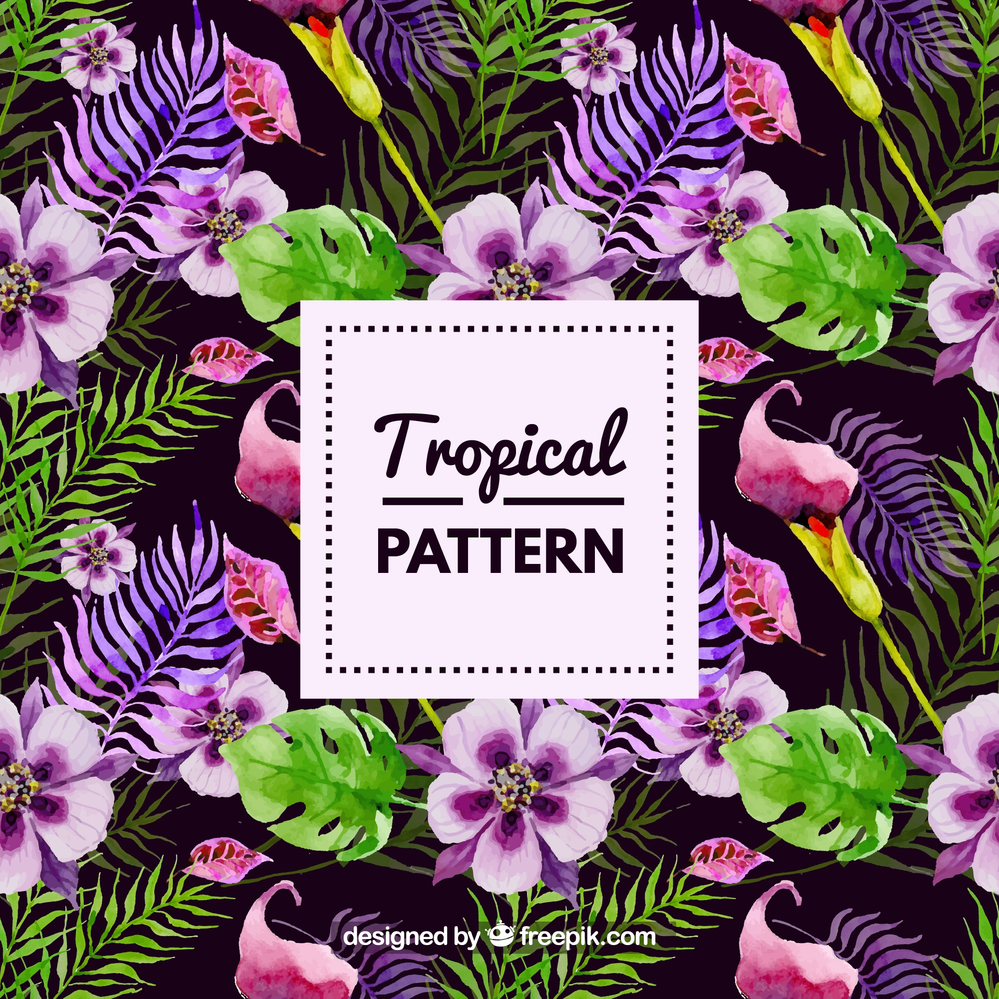 Tropical watercolor flowers pattern