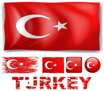 Turkey flag in different designs illustration