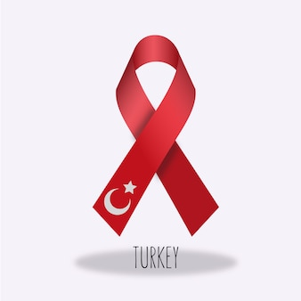 Turkey flag ribbon design