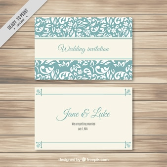 Turquoise  Elegant Wedding Card Template