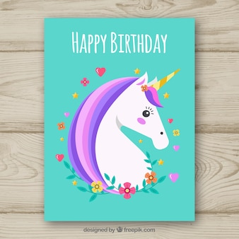 Turquoise birthday card with a unicorn