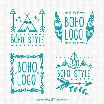 Turquoise boho logos collection